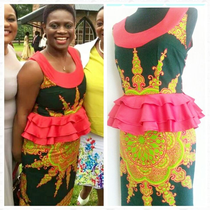 Frilled peplum dashiki print dress.