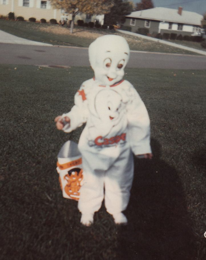 vintage photo of halloween trick or treater in casper the friendly ghost mask costume - Space Ghost Halloween Costume
