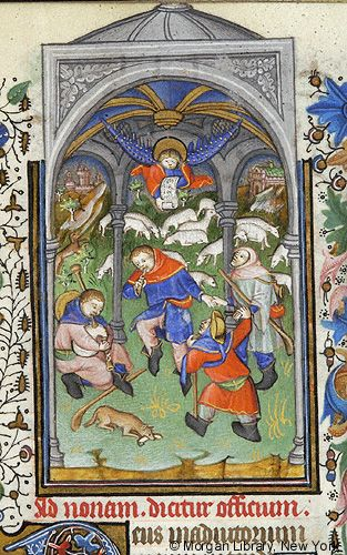In this MS, even the shepherds get an architectural setting. Medieval Manuscript Images, Pierpont Morgan Library, Book of hours (MS M.64). MS M.64 fol. 54r