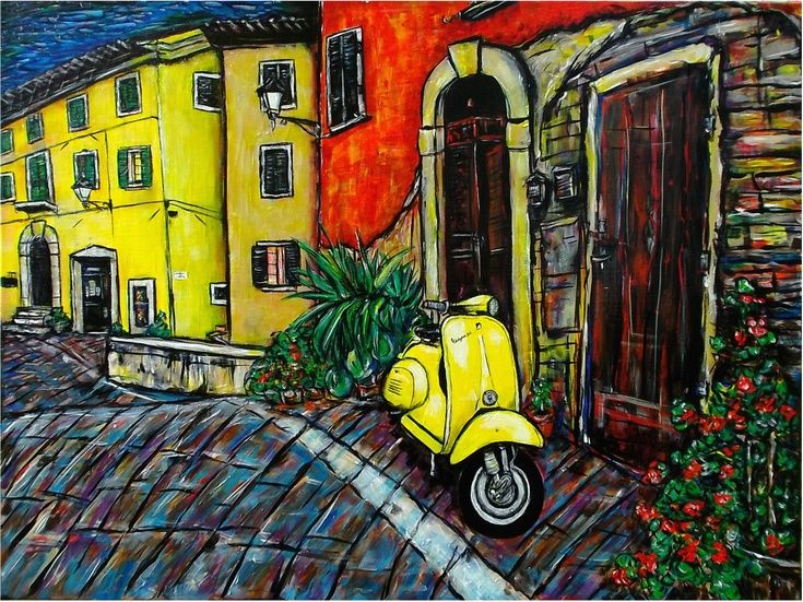 ARTFINDER: Vespa by DASMANG    (Gary Aitken ) - Another of the Tuscan series ,. #vespa #art #painting #.colorful #Italy
