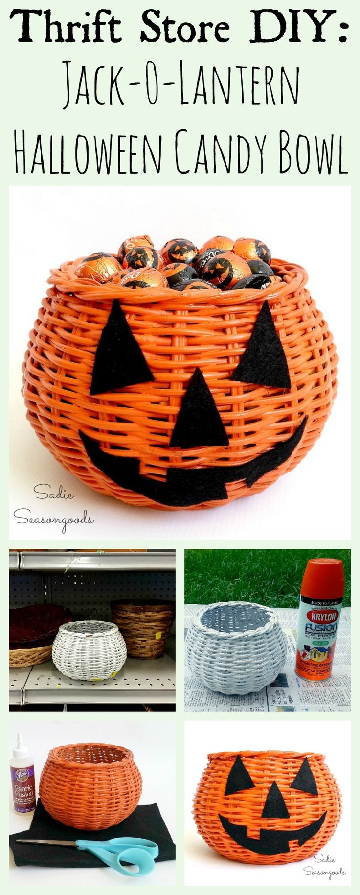 A plain round basket from the thrift store is ideal for a super easy, super quick, and super inexpensive Halloween craft project! A little orange paint and some black felt, and your basket is repurposed as a darling jack-o-lantern pumpkin candy bowl! A fun and simple way to get into the Halloween spirit at work- with some candy for your favorite colleagues and friends. Great upcycle DIY project by Sadie Seasongoods / www.sadieseasongoods.com