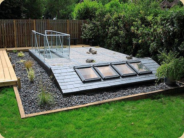 Garden basement stairs and skylights extensions for Glass garden office