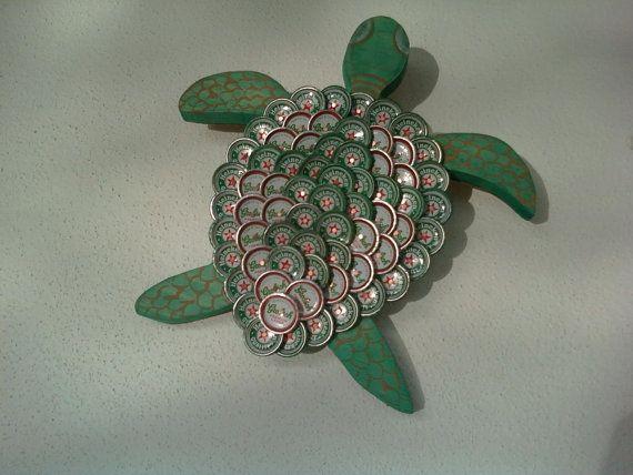 Beer Bottle Cap Turtle Wall Art By Outsidetheboxsuzie On