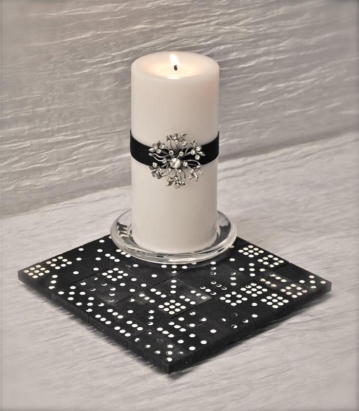 Vintage dominoes trivet centerpiece candle charger