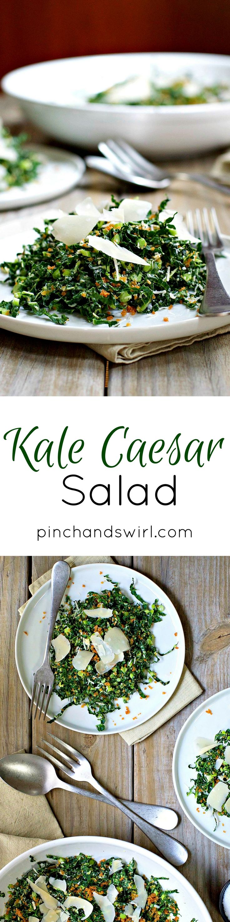 A fresh take on Kale Caesar Salad! Thin and tender ribbons of Italian kale tossed with a simple, creamy dressing (that doesn't require a raw egg), shredded parmesan cheese and crunchy garlic and olive oil breadcrumbs instead of croutons.