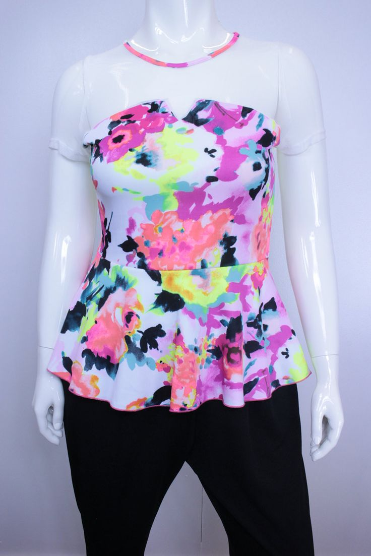 This Plus Size Sheer Mesh Yoke Abstract Peplum Top can be dressed up or down for a variety of evening occasions with the addition of a jeweled statement necklace. Abstract print is so trendy this season!  Stretch Fit.  Colour: White/Fuchia/Neon Lime  Length 72cm.  Please refer to the measure