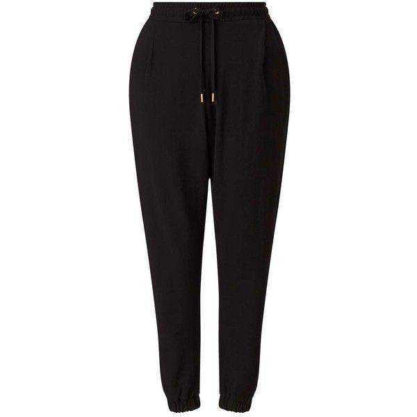 Miss Selfridge Petites Black Jogger ($32) ❤ liked on Polyvore featuring activewear, activewear pants, black, petite, petite activewear pants, miss selfridge, petite sportswear and petite activewear