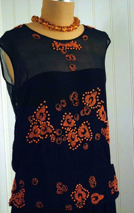 1920's Antique Coral-Beaded Navy Garden Silk-Chiffon Couture Flapper Dress.