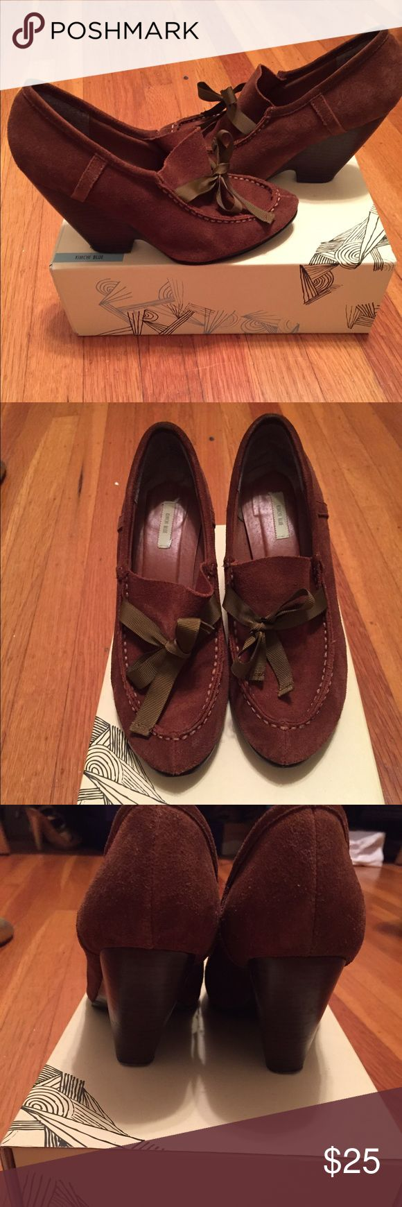 Brown suede loafers Brown suede loafers with wedge heel.  Ribbon now in the front. Kimchi Blue Shoes Flats & Loafers