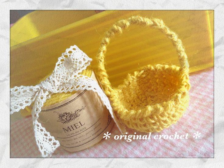 少ない麻紐で簡単☆小さなバスケット☆MIELの黄色の麻糸を使用しました^^ basket