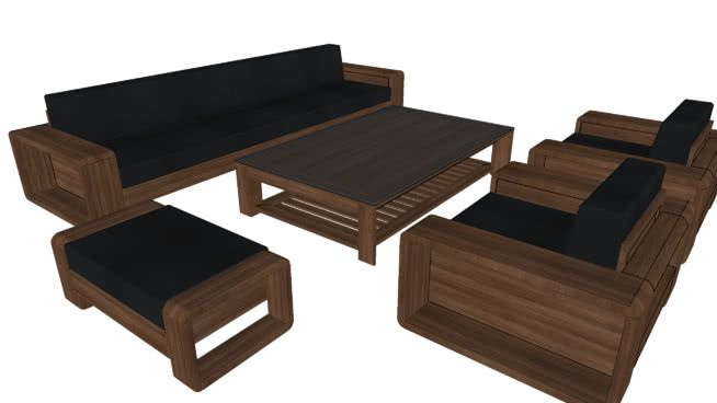 Large Preview Of 3d Model Of Sofa Gỗ Ghế