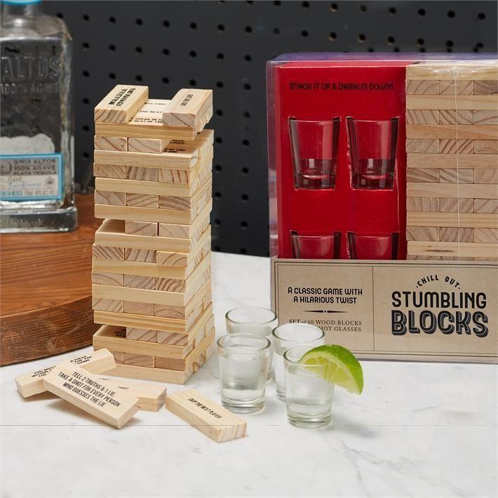 Stumbling Blocks Game with 4 Shot Glasses 60 Wood Blocks