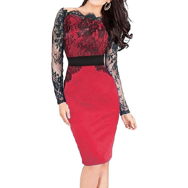 Choies Red Off Shoulder Sheer Lace Long Sleeve Bodycon Dress ($17) ❤ liked on Polyvore