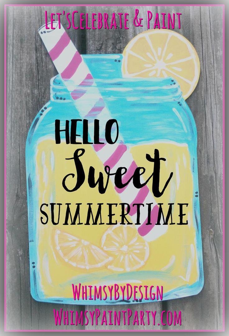 Lemonade Mason Jar With Pink Straw Door Hanger Purchase