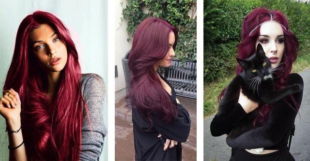 Chcesz poznać najnowszy trend w koloryzacji? Włosy w odcieniach burgundu będą królowały.  #włosy burgundowe #włosy #burgund #fryzury #kobieta
