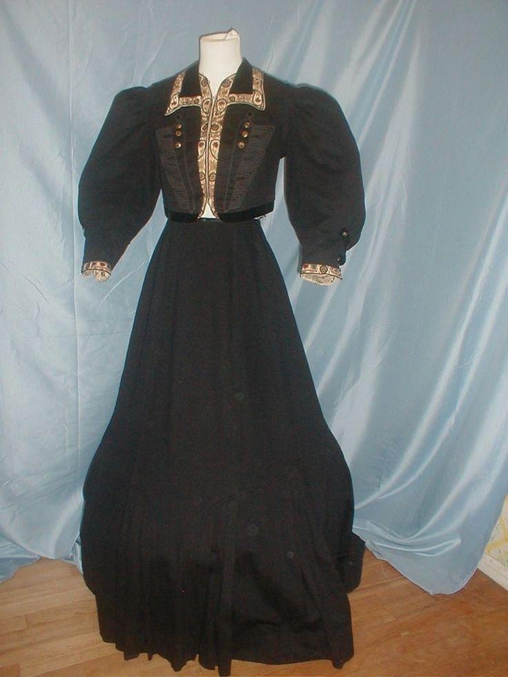 Antique Dress Suit 1890 Black Cashmere Embroidered Trim