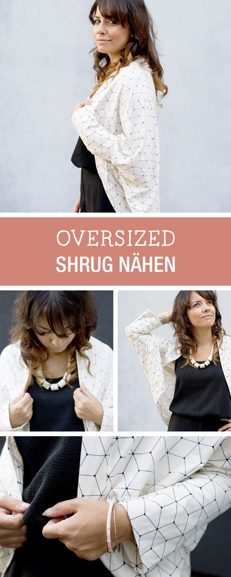 DIY-Anleitung: trendigen Oversized Shrug für den Herbst nähen, bequemer Cardigan / DIY-tutorial: sewing trendy oversized shrug for autumn season, casual cardigan via DaWanda.com