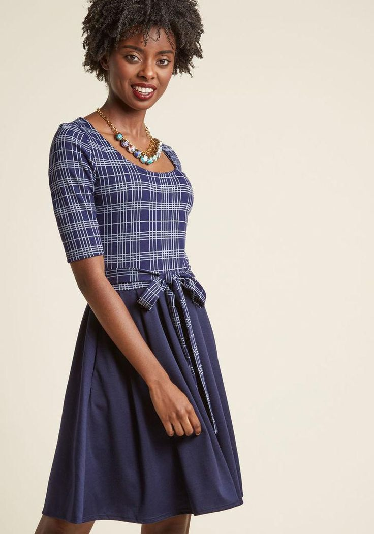 ModCloth - ModCloth In the Very Near Twofer A-Line Dress in Navy Grid - AdoreWe.com