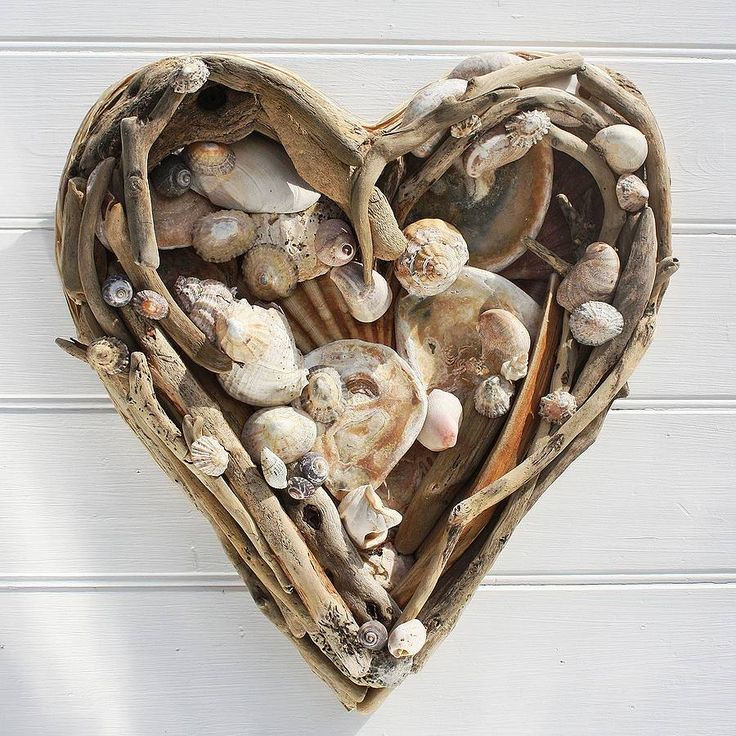 Driftwood and Shell Heart