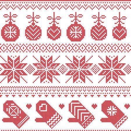 Piquer les coeurs en croix rouge jacquard Noël scandinave nordique sans couture avec gants, étoiles, flocons de neige, ornements de Noël, décorations de Noël, élément de neige,