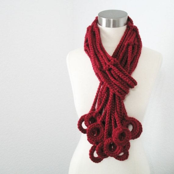 Crochet chains and rings scarf