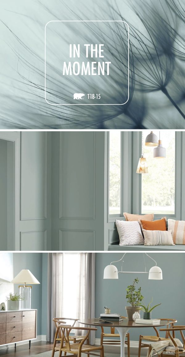 The cool blue hue of In The Moment by BEHR Paint fits perfectly into the mid-cen... interior paint
