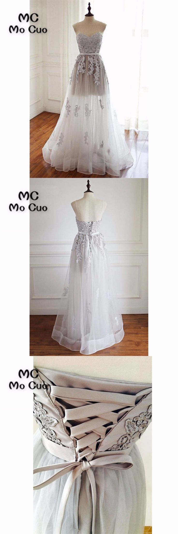 2018 Illusion Prom dresses Long with Appliques Lace Up Tulle Sweetheart dress for graduation Formal Evening Prom Dress