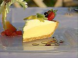 Cashew Crusted Key Lime Pie with a Whipped Cream Fruit Coulis Recipe.  I make this every year for Thanksgiving and have a hard time not eating a whole pie by myself in a day.  The recipe says it makes one pie, but it makes 2.