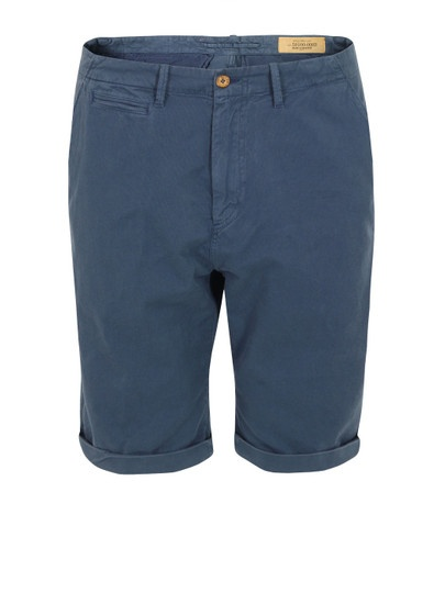 Levi's Made & Crafted – mens blue cotton drill shorts with a zip fly, front quarter pockets and single coin pocket. The shorts also feature an embossed Made & Crafted top button, adjustable turn ups, two rear pockets and a Levi's embossed rear leather waistband patch. Levi's Made & Crafted at Coggles.com. £120 #fashion #coggles #shorts