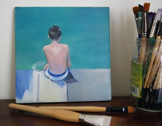 Original small oil painting of a boy by the sea by DustyLaneStudio