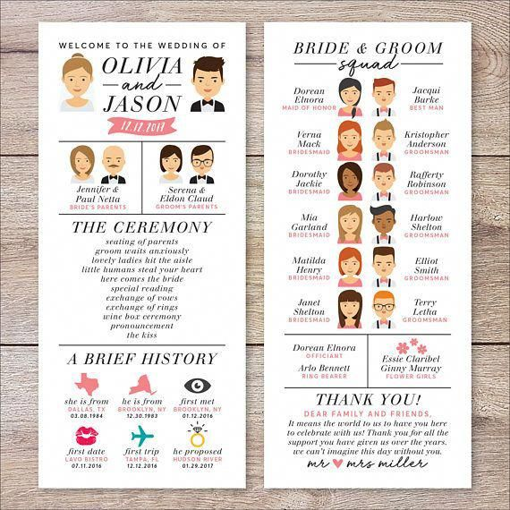 Infographic Wedding Program, Wedding Program Portrait, Fun