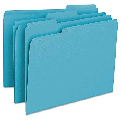 smead file folders 1 3 cut top tab letter 100 ct teal blue tops teal and teal blue. Black Bedroom Furniture Sets. Home Design Ideas