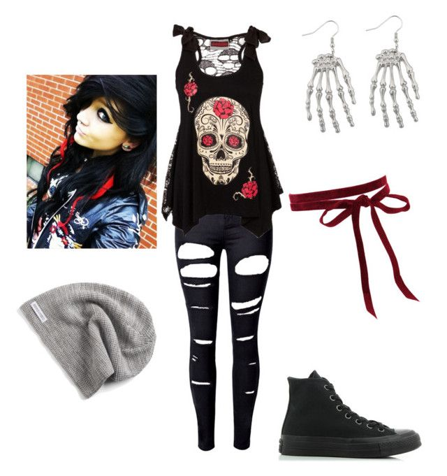 """Emo Day of the Dead"" by ilovedeadpool ❤ liked on Polyvore featuring WithChic and Converse"