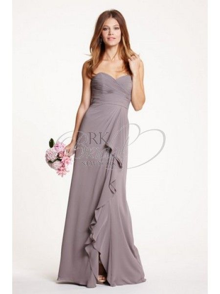 RK Bridal - Watters Bridesmaids Spring 2014- Style 5518 Betsy - Crinkle Chiffon. Sweetheart neckline. Draped bodice/waist. Slim A-line floor length skirt. Cascading ruffle from waist to hem opens to a left front slit.