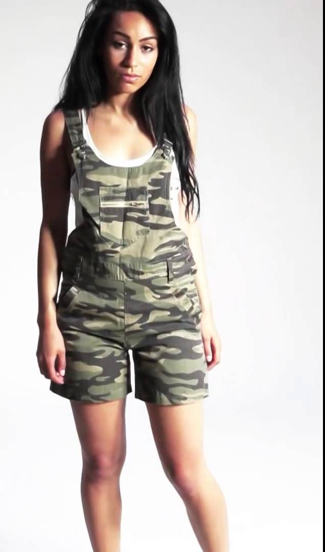 Fun & fashionable, camouflage Dungaree Shorts for Women from Dungarees-Online. #dungarees #overalls