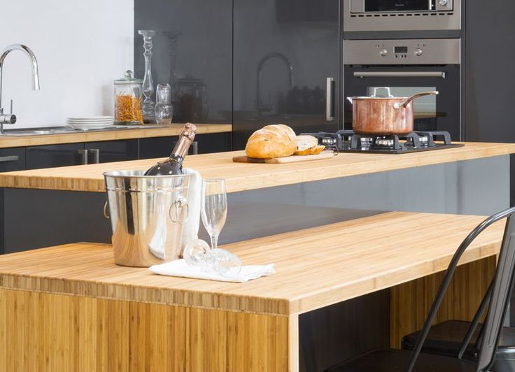 This kitchen features an extension table made from one bamboo module as well as a shelf configuration made from off cuts. Visit kaboodle.com.au for more inspiration!