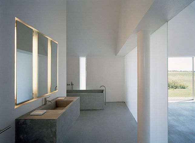 'John Pawson  /Baron House' bathroom designConcrete Bathroom, John Pawson, Baron House, Architecture Interiors, Interiors Design, Johnpawson, Bathroom Lights, Bathroom Sinks, Design Bathroom