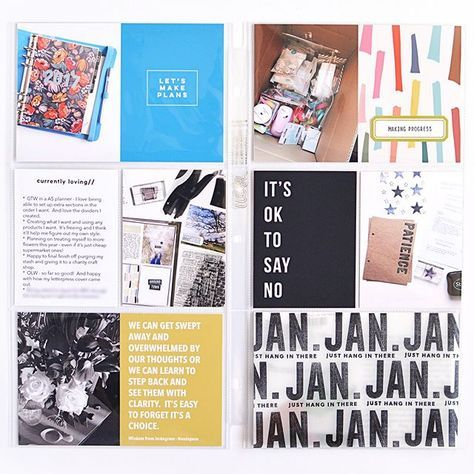 Inspired by @andreacollects idea of a personal project life album I started my project life this year with the idea to include a monthly personal spread into my main album. As life got busier it's sort of morphed into more of a catch all spread for the month. Here are my January pages (only 8 months late sharing them !). All the cards are digital and the stamped vellum covers some hidden journaling and a photo.