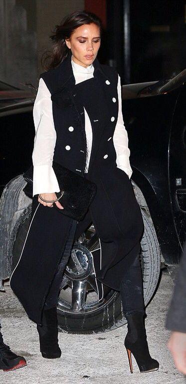 Victoria Beckham chic city style dressed in her own designer line