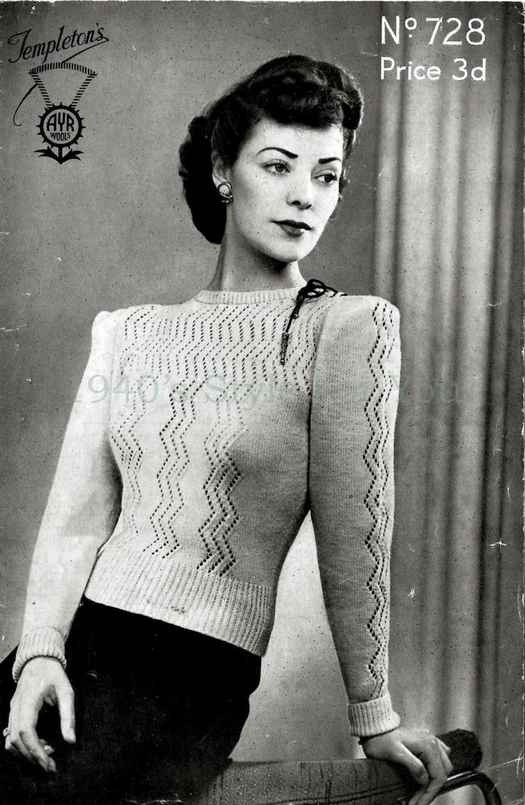 513 best vintage knitting patterns womens jumpers images on 1940s style for you free knitting pattern 1940s jumper templetons bankloansurffo Image collections