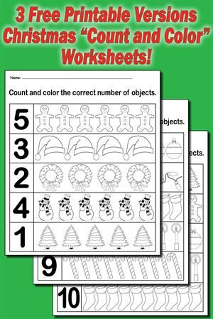 3 Christmas Count and Color Worksheets | Christmas | Pinterest