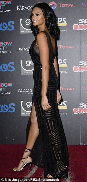 All in black: The Britain's Got Talent judge wore a stunning black ballgown adorned with s...