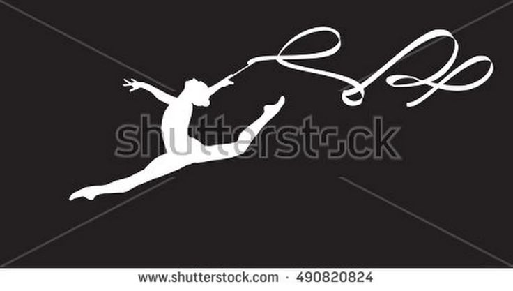 Gym. Gymnastic. Gymnast Girl Silhouette With Ribbon Jumping, Doing Split Leap In The Air, Isolated On Black. Gymnastic Element, Athletic, Sport. Young Gymnast Woman With Ribbon. Banner Clip Art Vector - 490820824 : Shutterstock