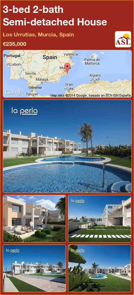 3-bed 2-bath Semi-detached House in Los Urrutias, Murcia, Spain ►€235,000 #PropertyForSaleInSpain