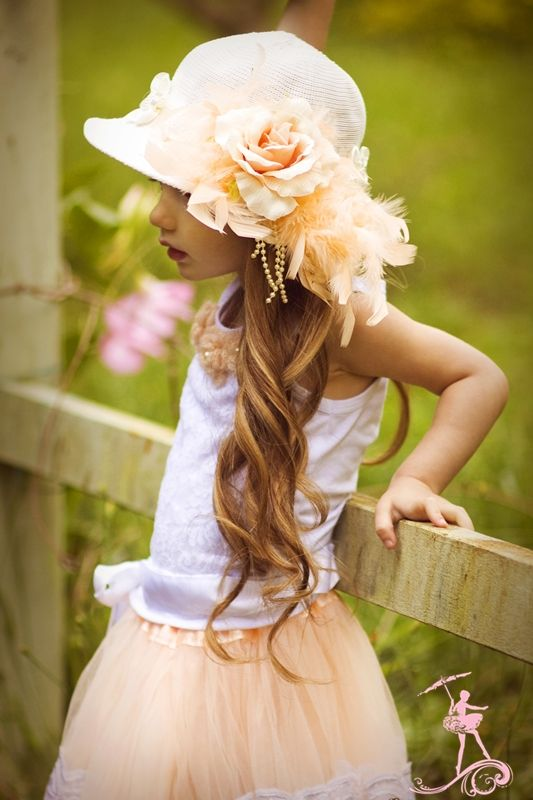 My Sweet Little Peach... The Vintage Tea Hat - $34.00 :: Love Baby J Boutique - Welcome to Love Baby J Couture - Boutique Clothing For Girls