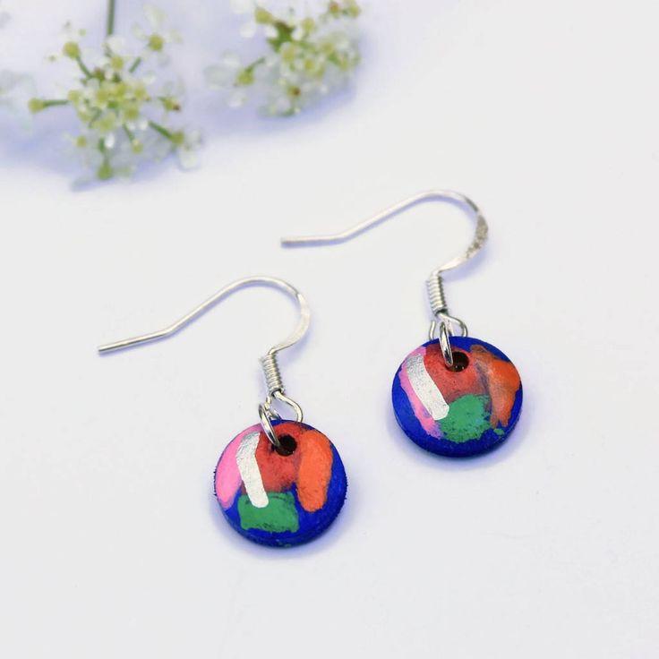 Tiny Round Earrings, Dainty Earrings, Red Blue Green Circle Earrings, Hand Painted Earrings, Wooden Earrings, Everyday Minimalist Jewellery
