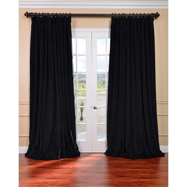 Exclusive Fabrics Warm Black Velvet Blackout Extra Wide Curtain Panel (84-Inch), Size 100 x 84 (Cotton, Solid)