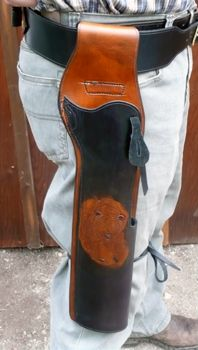 """Mare's Leg Rig """"Grizz"""", Holster & Belt in two-tone and hand carved Grizzly on holster front.  YOU DREAM IT - WE MAKE IT!"""