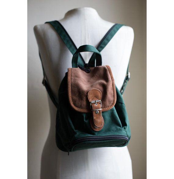 90s Vintage Grunge Revival Hunter Green Mini Backpack by sopasse