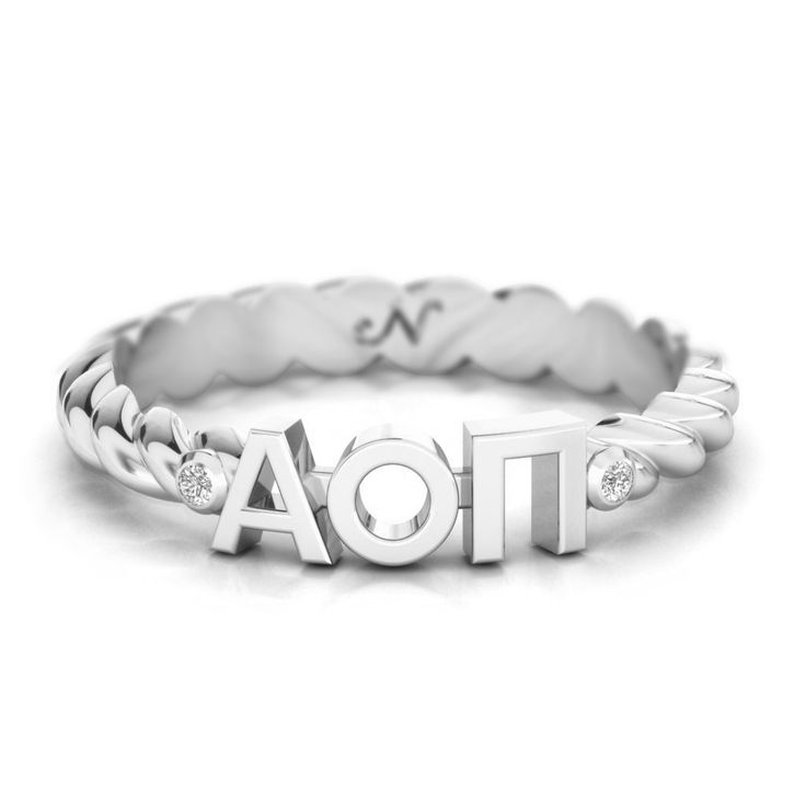 Alpha Omicron Pi Silver Pavé Twist Letter Ring